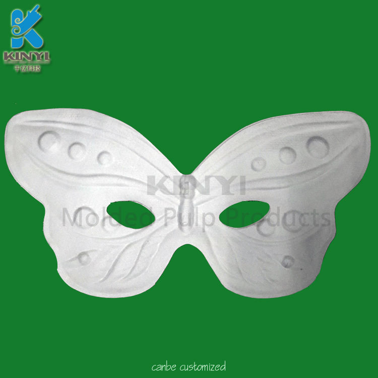Plain Blank White Paintable Paper Pulp Butterfly Masks, Animal Masks