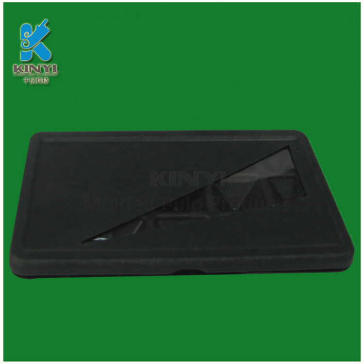 Black color eco-friendly recycled paper pulp packaging tray